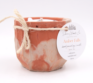 Amber Falls - 4 ounce Hand Poured Pure Soy Candle - Concrete