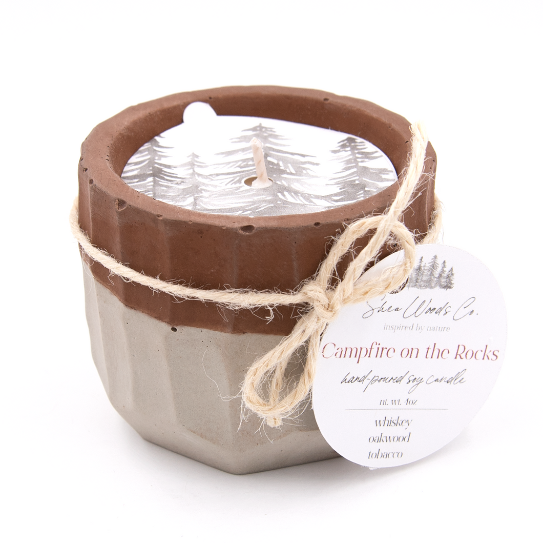 Campfire on the Rocks - 4 ounce Hand Poured Pure Soy Candle - Concrete