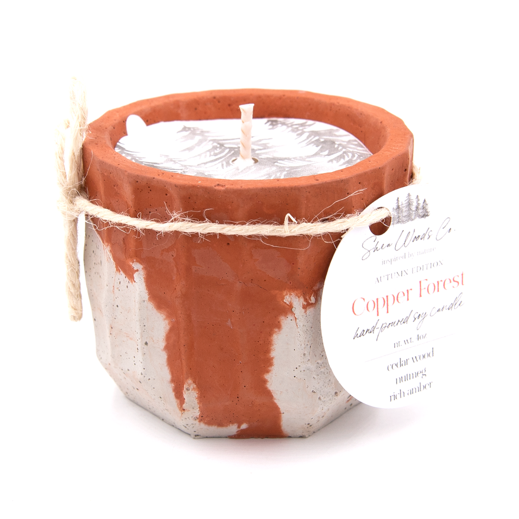 Copper Forest - 4 ounce Hand Poured Pure Soy Candle - Concrete