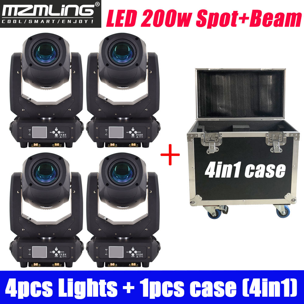 4PCS Lights + 1PCS Flight Case Led 200w 2in1 RGBW Beam/Spot Light DMX512 Moving Head Light DJ /Bar /Party /Show /Stage Light
