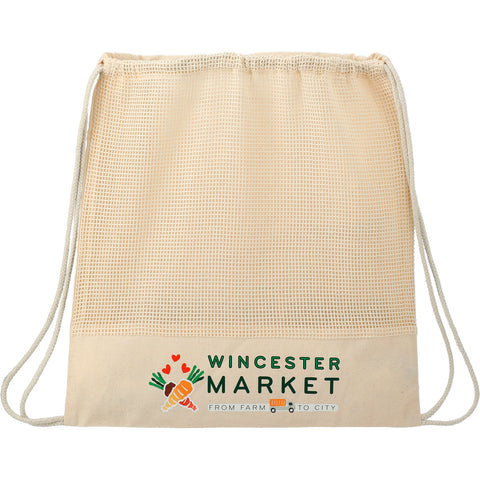 Cotton Mesh Drawstring Bag