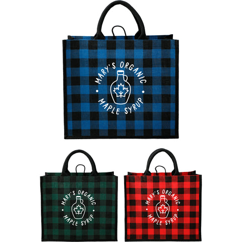 Buffalo Plaid Printed Jute Tote
