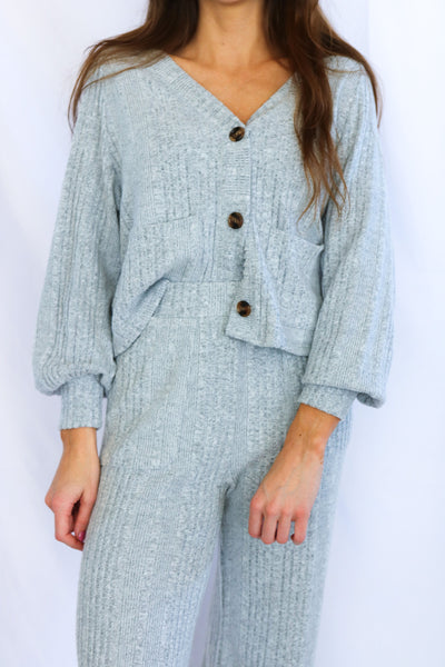 Rib Button Down Cardigan