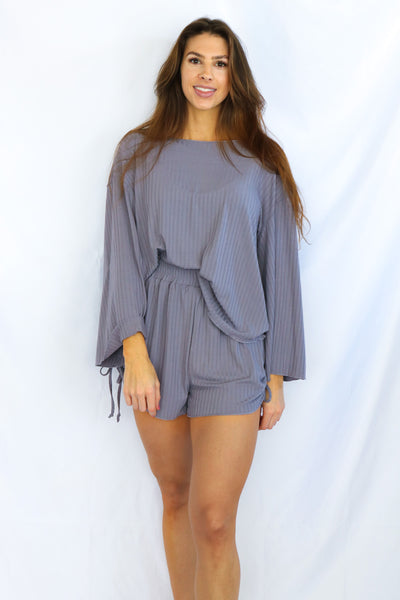 Ribbed Boat Neck Top and Ruched Shorts Set