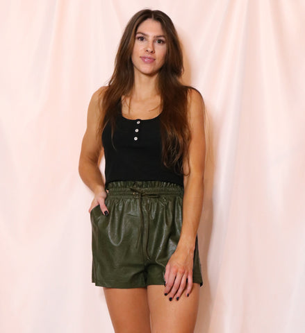 Ruffled Faux Leather Shorts