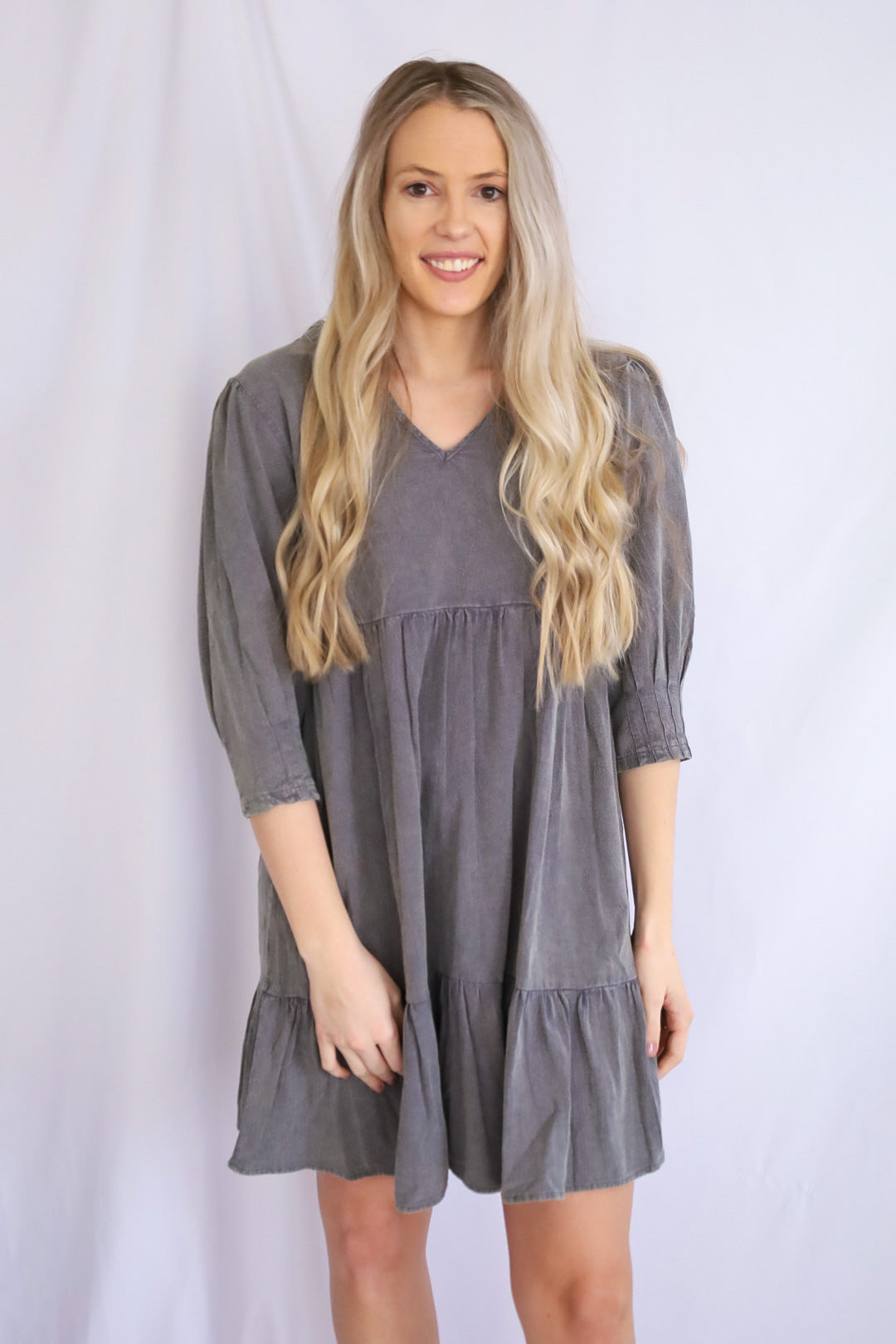 Natural Washed Tiered Babydoll Dress