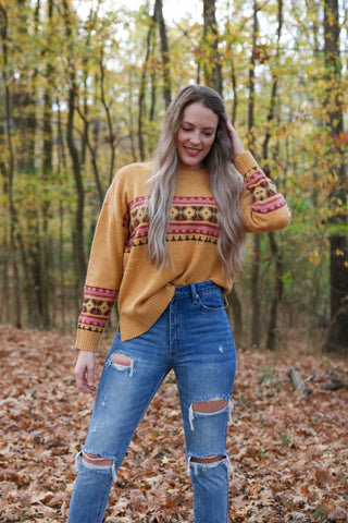 Aztec Detail Round Neck Sweater Top