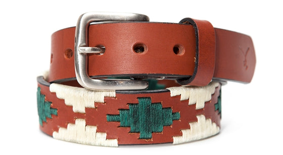 Polo Belt - Cognac Leather with Hunter Green & Sand - TATO'S MALLETS
