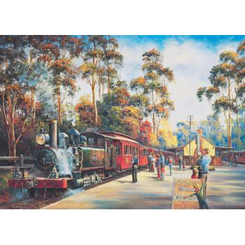John Bradley Puffing Billy Arrival 1000 Piece Jigsaw Puzzle - Get Puzzled