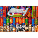 Bluebird Cat Bookshelf 1000 Piece Jigsaw Puzzle - Get Puzzled