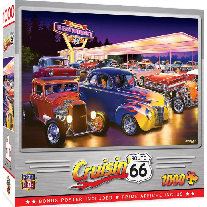 Masterpieces Cruisin Friday Night Hot Rods Puzzle 1000 Piece Jigsaw Puzzle - Get Puzzled