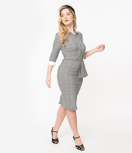 I Love Lucy x Unique Vintage Houndstooth TV Star Pencil Dress