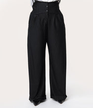 Laden Sie das Bild in den Galerie-Viewer, 1930s Black & White Pin Stripe Thelma Suspender Pants
