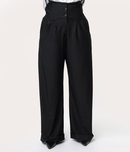 1930s Black & White Pin Stripe Thelma Suspender Pants