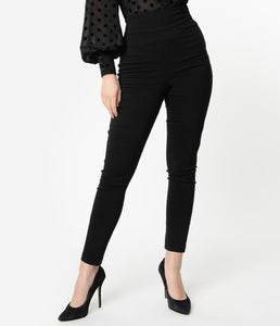 High Waist Rizzo Cigarette Pants black