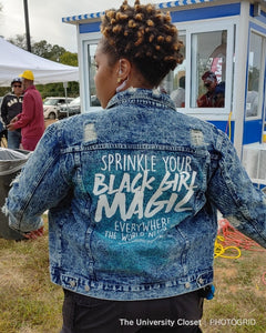Black Girl Magic Acid Wash Denim Jacket