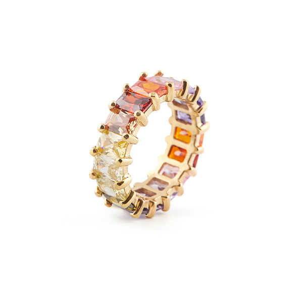 Bold Infinite Rainbow Ring - Gold