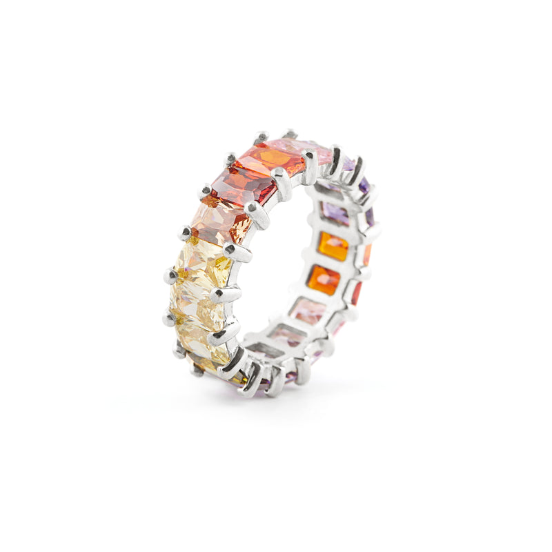 Bold Infinite Rainbow Ring - Silver