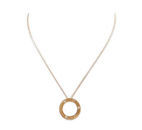 Cartier Love Rose Gold 3 Diamond Circle Charm Necklace