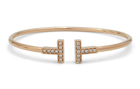 Tiffany & Co. T Square Rose Gold and Diamond Bracelet