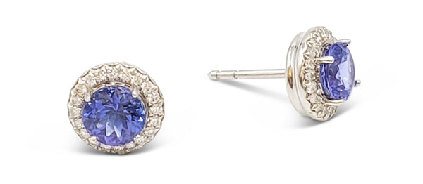 Tiffany & Co. Soleste Platinum Diamond and Tanzanite Earrings