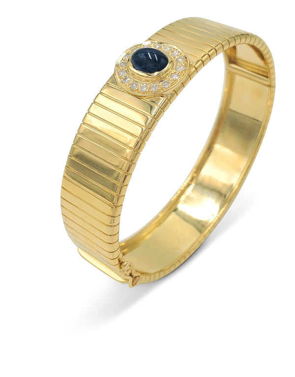 Soler Cabot, Faberge Gold Diamond and Sapphire Bangle