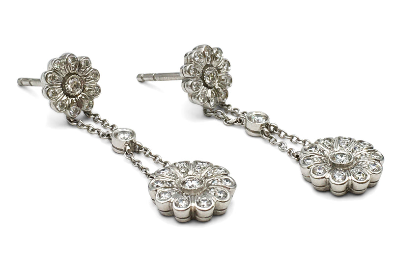 Tiffany & Co. Platinum and Diamond Rose Drop Earrings