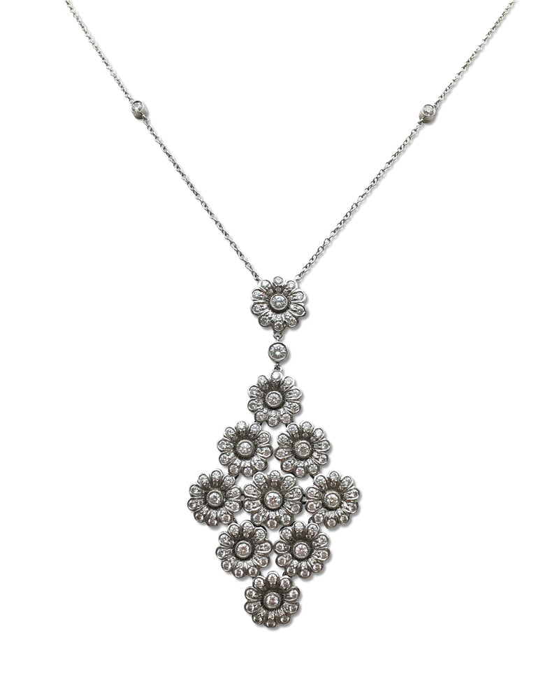 Tiffany & Co. Platinum and Diamond Rose Drop Pendant Necklace
