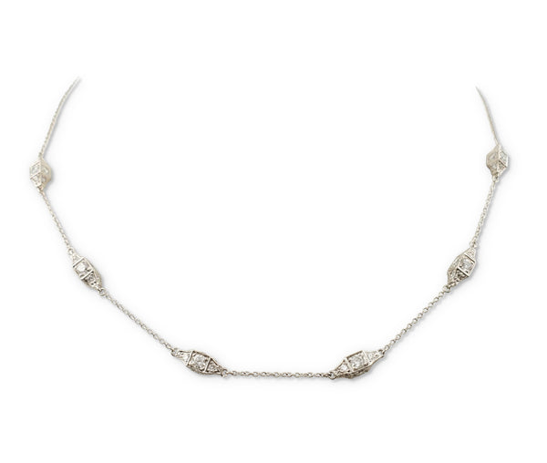 Micheal B. Platinum Diamond Station Necklace
