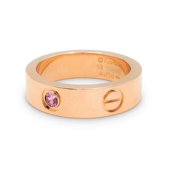 Cartier Love Rose Gold and Pink Sapphire Ring