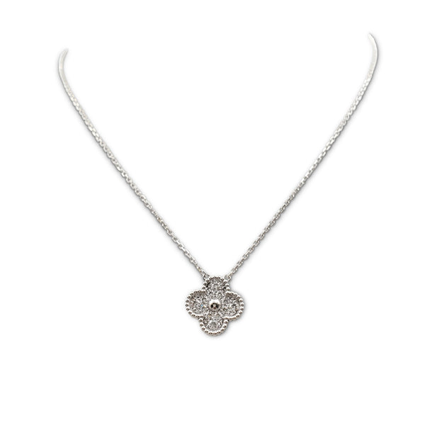 Van Cleef & Arples Vintage Alhmabra White Gold and Diamond Pendant Necklace