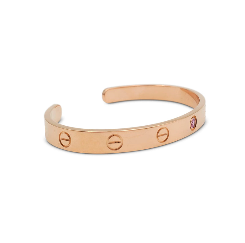 Cartier Love Rose Gold and Pink Sapphire Open Cuff Bracelet
