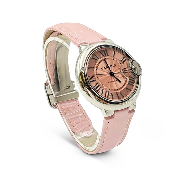 Cartier Ballon Bleu de Cartier Stainless Steel Pink Dial Leather Strap Watch
