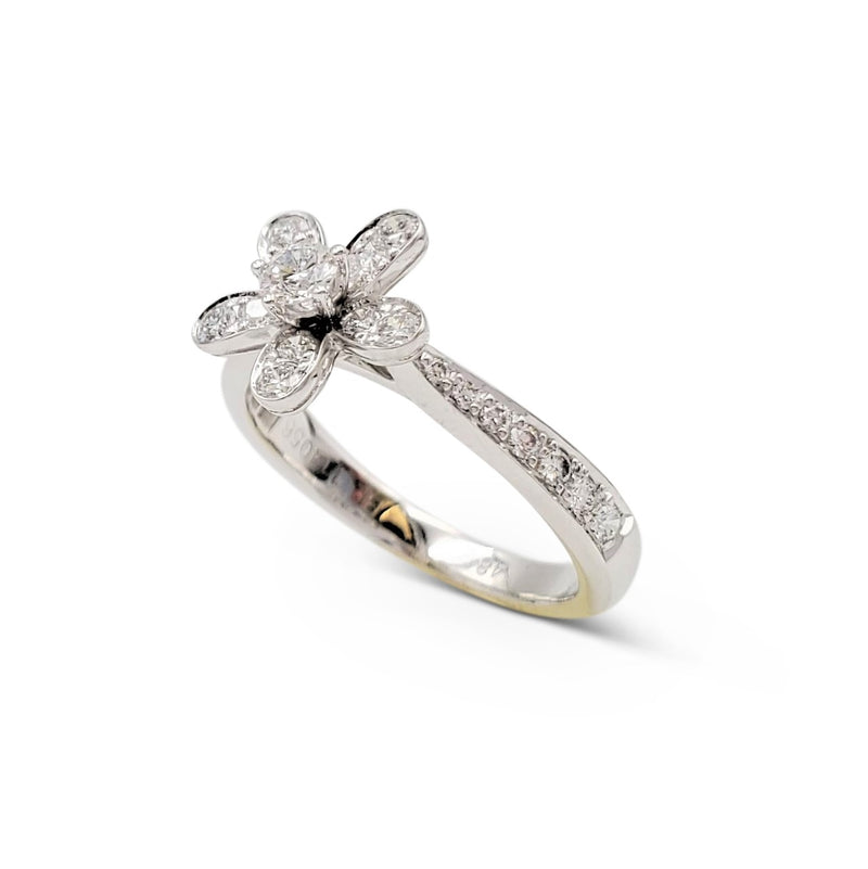 Van Cleef & Arpels Socrate White Gold and Diamond Single Flower Ring