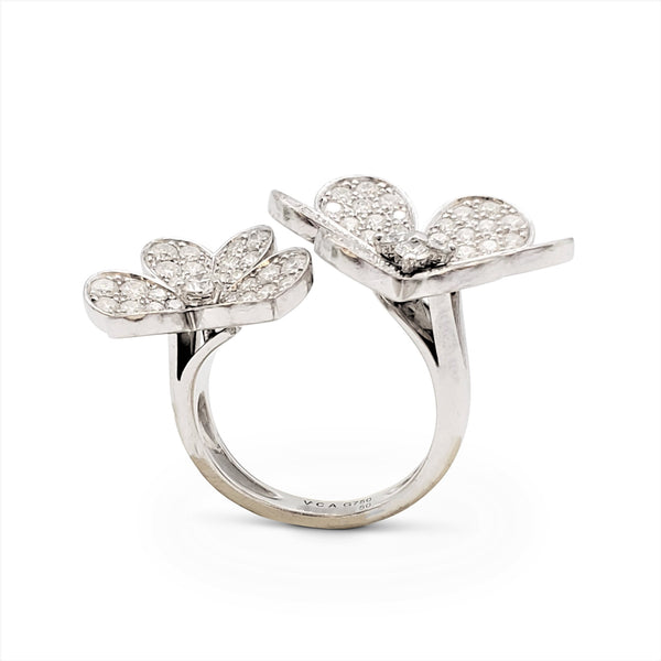Van Cleef & Arpels Frivole White Gold and Diamond Between-the-Finger Ring