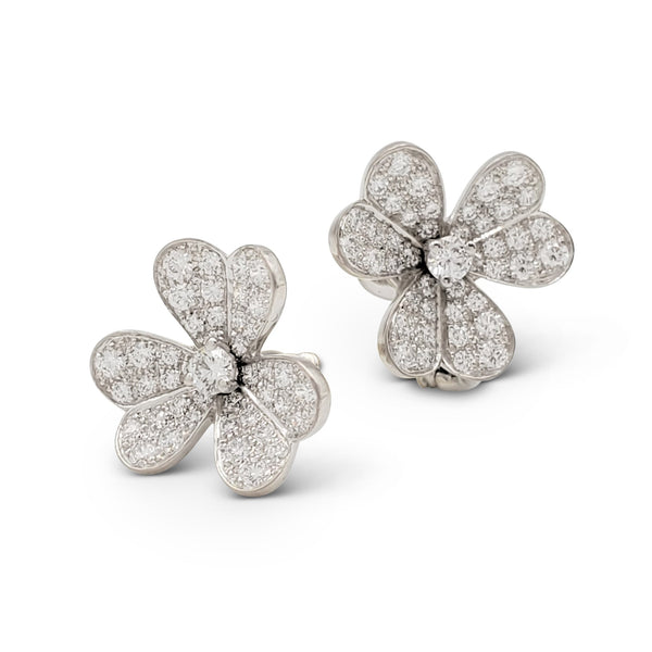 Van Cleef & Arpels Frivole White Gold and Diamond Earrings, Small Model