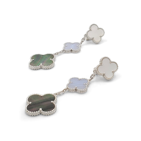 Van Cleef & Arpels Magic Alhambra Three-Motif White Gold Chalcedony and Mother of Pearl Earrings