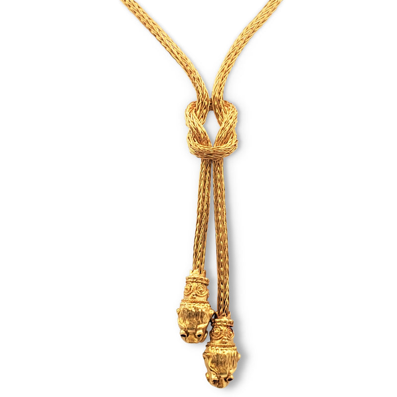 Lalaounis Gold Hercules Knot Lions Heads Lariat Necklace