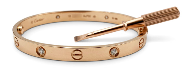 Cartier Love Rose Gold 4 Diamond Bracelet