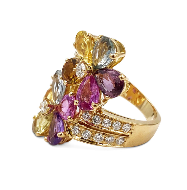 Bulgari Multi-Color Sapphire Diamond Floral Ring