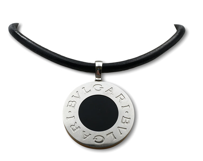Bulgari Reversible Mother of Pearl and Onyx Pendant Necklace