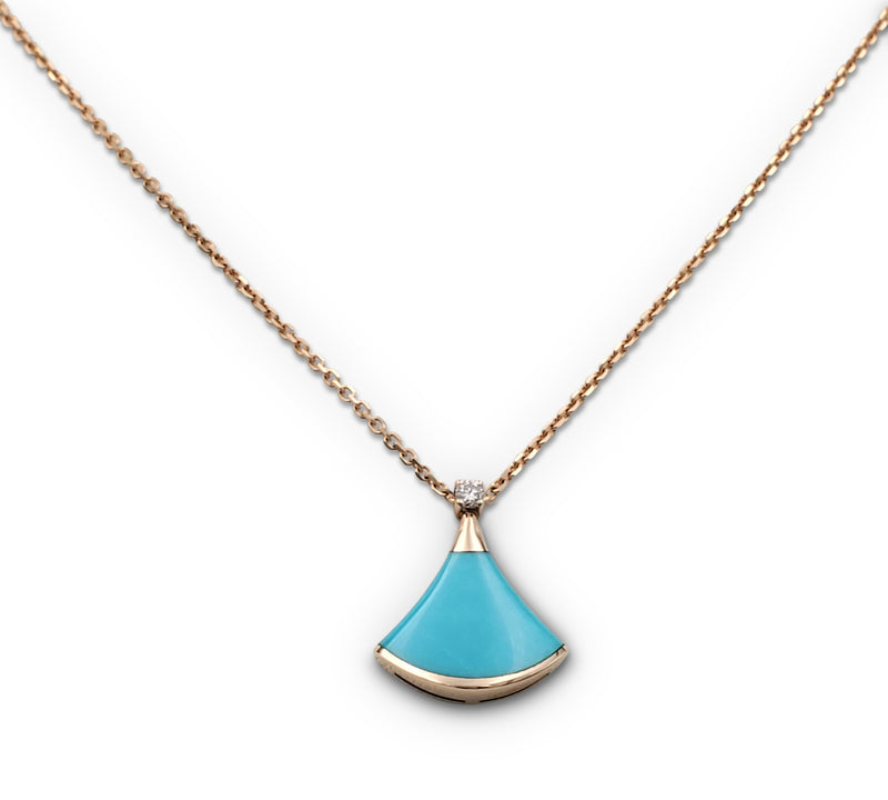 Bulgari Diva's Dream Rose Gold Turquoise Diamond Pendant
