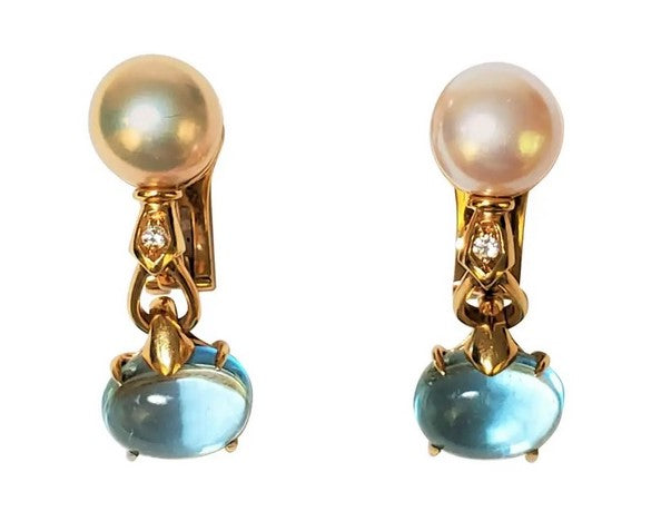 Bulgari Allegra Pearl and Blue Topaz Earrings