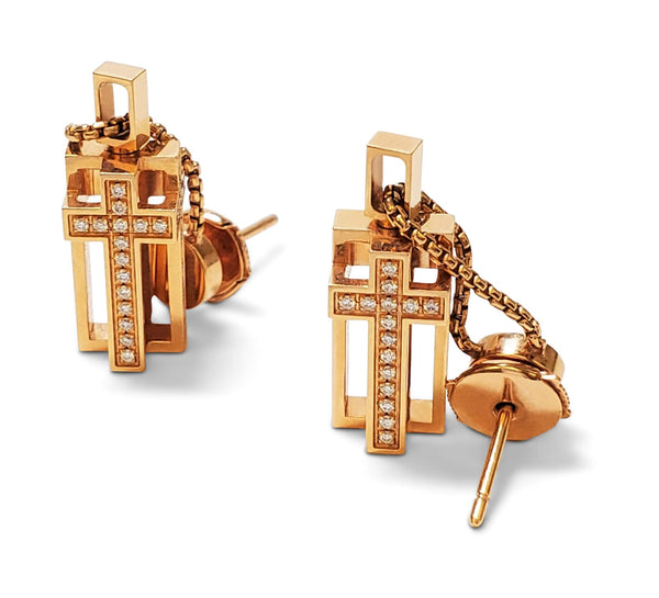 Roger Dubuis 'Follow Me' Gold and Diamond Earrings
