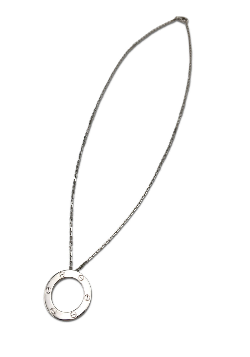 Cartier Love White Gold Circle Charm Necklace