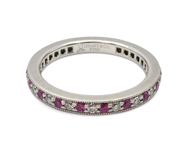 Tiffany & Co. Legacy Platinum Diamond and Ruby Band