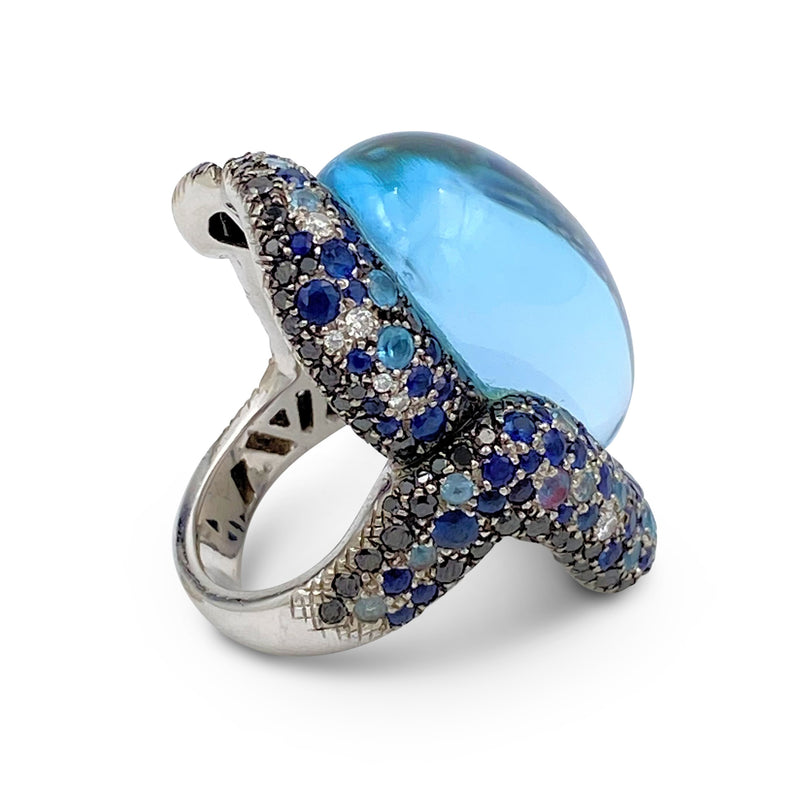 Vasari White Gold Topaz Sapphire and Diamond Cocktail Ring
