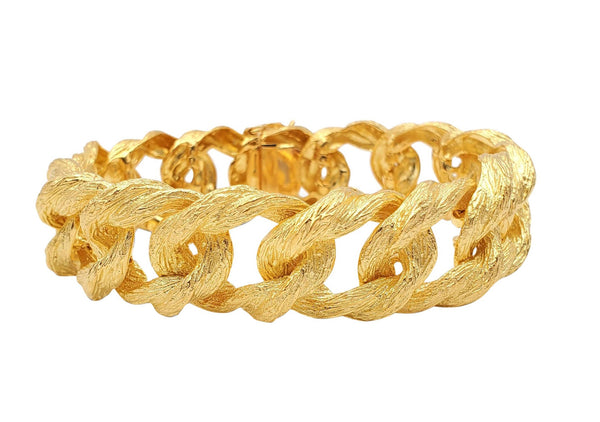Textured Yellow Gold Curb Link Bracelet