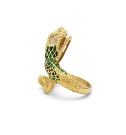 Vintage Gold and Enamel Snake Ring