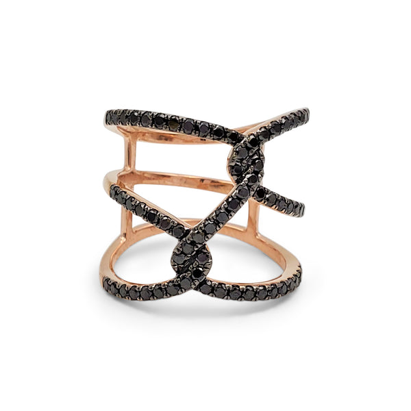 Rose Gold and Pavé Black Diamond Openwork Cage Ring